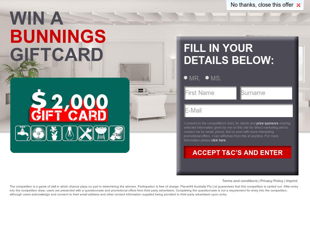 Bunning $2000 Giftcard – Sweepstake Giveaway